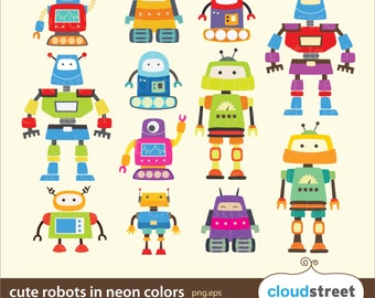 20% OFF Cute Robots Clipart in neon for personal and commercial use ( cute neon robot clip art ) vector graphics