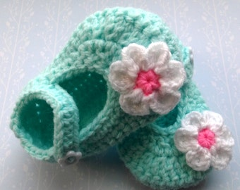 Mint green Mary Jane booties shoe with white and pink flower. To fit 3-6 month baby girl; ready to ship, UK seller