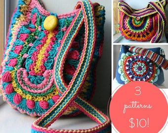 Crochet patterns, 3 crochet purse patterns sale, crochet mandala purse patterns, crochet bag patterns, crochet handbag pattern