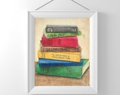Classic Book Art Print Original Colored Pencil and Chalk Pastel Fine Art Print