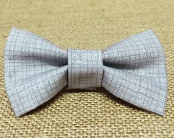 Grid on Grey Baby Boy Bow Tie