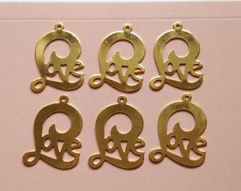 6 x Gold plated LOVE word charms