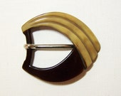 "1930s ART DECO BAKELITE Belt Buckle - Chocolate Brown & Caramel Early Plastic - Made in Germany - For a 1"" (2.5 cm) Wide Belt"