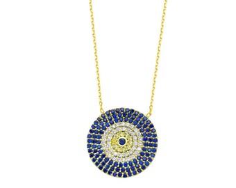 Evil Eye Celebrity Necklace, Blue eye , Gold over Sterling silver