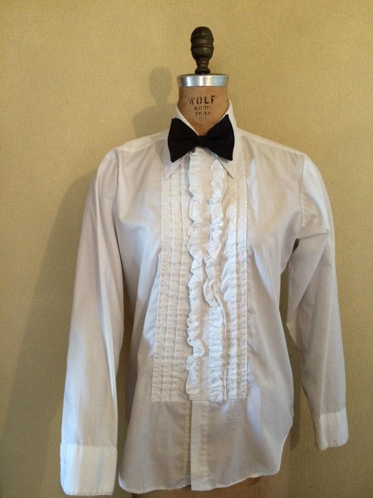 1970 Men 39 S White Ruffled Tuxedo Shirt