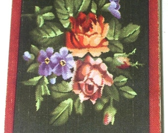 Petit Point Cabbage Roses-Violets Flower Floral Playing Card Deck Games Swap Trade Crafts Altered Art Scrapbooking
