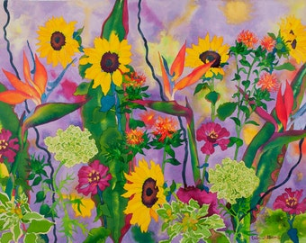 Sunflowers and Birds of Paradise Watercolor Painting, Purple Garden Fine Art Print