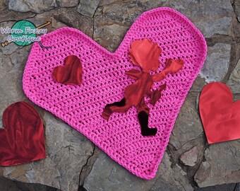 Instant Download PDF Crochet Pattern - No. 63 Valentine's Day Heart Photo Mat Blanket Rug