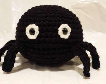 Spider- Crochet Amigurumi Stuffed Animal Plush- Black