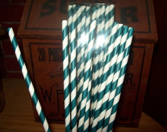 10 1/2 inches Long Retro Looking Navy & White Striped Paper Drinking Straws   25