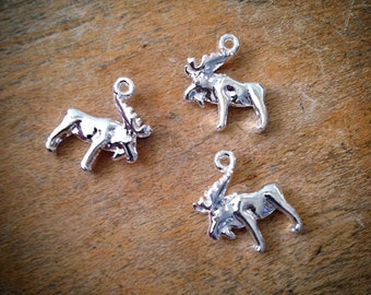 2 Pcs Sterling Silver Plated Moose Vintage Style Yellowstone Woodland Pendant Charm Jewelry Supplies (AU135)