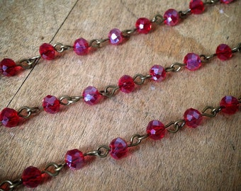 100cm Round Faceted Red Bead Necklace Chain 5mm Glass Bead Antique Bronze Chain Jewelry Making Supplies (EC172)
