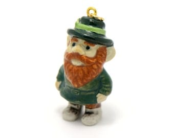 1 - Porcelain Leprechaun Pendant Hand Painted Glaze Ceramic Gnome Small Ceramic Leprechaun Bead Jewelry Supplies Little Critterz (CA215)