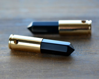 1 - Bullet Point Black Agate Pendant Bead in 24K Gold Plated Brass Shell Casing Pencil Pointer Gemstone Jewelry Making Supplies (DA201)
