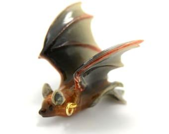 1 - Porcelain Cave Bat Hand Painted Glaze Ceramic Animal Small Bat Bead Jewelry Supplies Little Critterz (CA131)