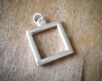 SILVER Miniature SQUARE Picture Frame Pendant -  Mini Charm Frames Jewelry Supplies (BC053)