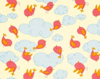 David Walker Fabric - Free Spirit - Garden - Clouds - Pink - Choose Your Cut-1/2 or Full Yard