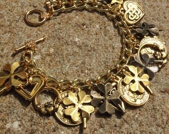 IRISH GOLD ANTIQUE Gold Irish Celtic Ireland Charm Bracelet