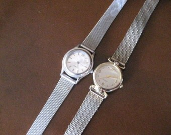 Vintage quartz ladies watches.  Gold and Silver.  Lot.  Adjustable.