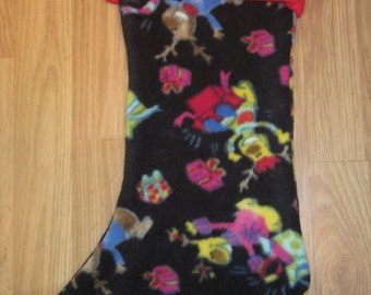 CLEARANCE SALE Reindeer Print Holiday Christmas Stocking w/ Red Cuff