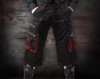 Red & Black Holster Shorts + Gunmetal Hardware by Loose Lemur Clothing