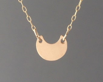 Double Connected Gold Fill Crescent Moon Necklace