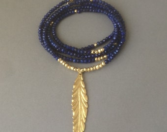 Blue LAPIS LAZULI Stone with Gold Leaf Beaded Necklace