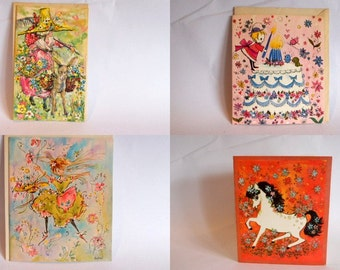 Vintage Birthday Cards Fantasy Card 1960's Greeting Cards Set of 4
