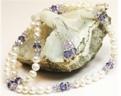 Fresh Water Pearls / Tanzanite Jewelry / Swarozski Crystals / Pearl Necklace and Earrings Set
