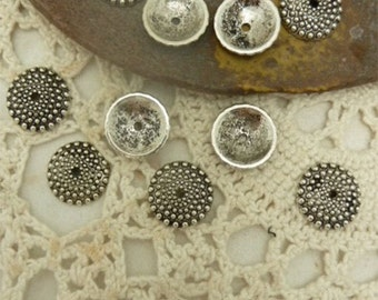 """20 hob knob covered  domed disc beads  in antique silver size 5/8 """" round"""