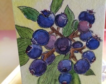 ACEO - Dad's Blueberries - Blueberry Bush - Pen and Wash Watercolor Painting - Original
