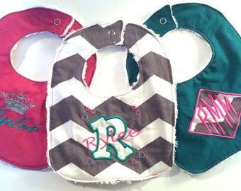 Monogrammed Personalized Bibs Gift Set of 3 Embroidered Newborn To Toddler Girl Chenille Baby Bibs - Premium