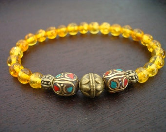 Women's Tibetan Amber Healing Mala Bracelet - Genuine Baltic Amber Bracelet - Yoga, Jewelry, Meditation, Prayer Beads