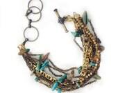 Sea Queen Bracelet // Hand-beaded Chain Bracelet // Layered Bracelet