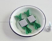 6 sweet origami magnets . party favors . origami candy . baby shower favors . paper candy -green & gray dot