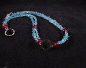 Hand beaded necklace, hand beaded apetite necklace, hand beaded gemstone necklace, blue necklace, Apetite chip hand beaded necklace
