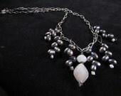 Elegant Freshwater Pearl and Chain Hand Beaded Necklace Set, freshwater pearl jewelry set, freshwater pearl necklace and earring set
