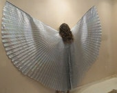 Pretty Hologram Egyptian Silver Lame Bellydance Costume ISIS WINGS