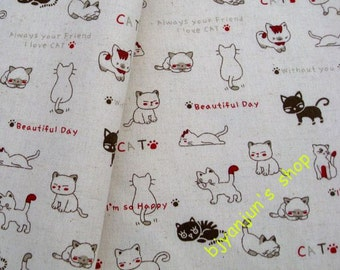 LF180 - Linen Cotton Blended Fabric - Lovely Cats  - 1/2  yard