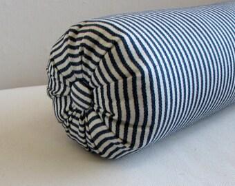 navy ticking stripe bolster pillow 6 x 14,  6 x 16,  6 x 18