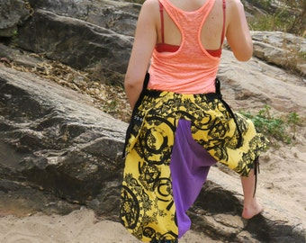 funky thai Capri Pants, Batik Cotton, Hmong Hill Tribe Style,Black&purple and yellow  Paisley Print and Green Details One Size Fits All