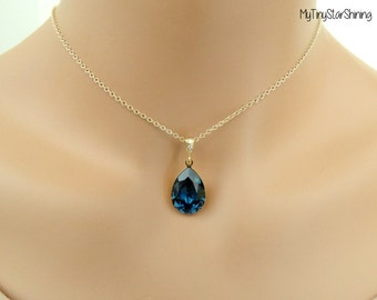 Gold Necklace Dark Blue Necklace Navy blue Necklace Swarovski Crystal Necklace Bridesmaid Gift  Blue Jewelry Gold filled Necklace