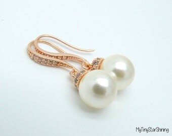 ROSE GOLD Pearl Bridal Earrings Necklace Set Swarovski Crystal Cream Pearls  Wedding Jewelry Bridesmaid Gift