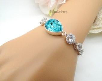 Bridal Bracelet Wedding Bracelet Turquoise crystal Bracelet Teardrop Round Cubic Zirconia Bracelet Crystal Bracelet Wedding Jewelry
