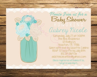 Flowers-Mason Jar and Lace-Blue Boy Baby Shower Invitation-Invite-Shabby-Printable