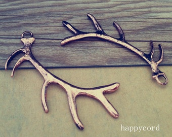 10pcs Antique copper red  deer antlers charm  pendant 18mmx60mm