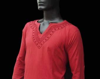 Handmade Red shirt for Mens Plus size clothing boho tunic Gift for him september trends beach coverup kurta pattern Indian sari bohemian