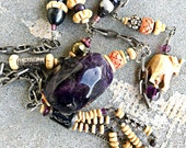 Huge amethyst flapper style assemblage carved bone tassels long art deco style vintage and antique beads! See my life-size manikin for size.