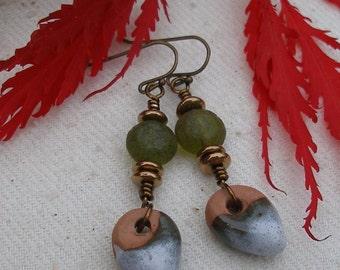 Moss Gatherings--Rustic Clay Earrings   556