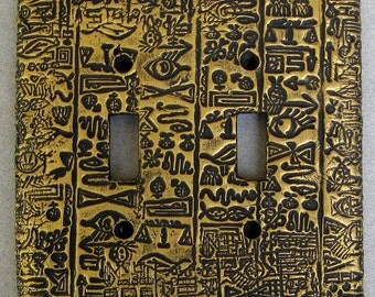 Egyptian Hieroglyphics Handmade Double Toggle Switchplate Lightplate Wallplate Cover